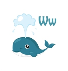 Whale funny alphabet animal vector