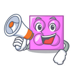 With megaphone toy brick character cartoon vector