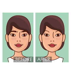 woman faces hair removal before and after vector image