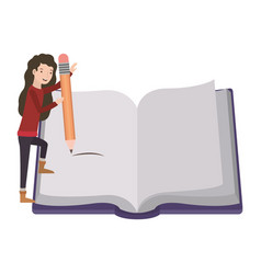 Woman with text book and pencil avatar character vector
