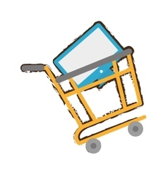 Yellow shopping cart online computer sketch vector