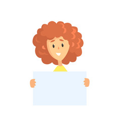 Young curly-haired woman holding blank sheet of vector