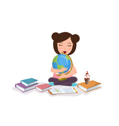 Young girl kids studying reading book learning vector