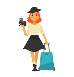 Young isolated woman holding camera and travelling vector
