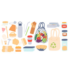 zero waste reusable plastic free and eco vector image