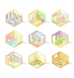 big set of isometric home interiors vector image
