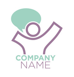 company logo design with person silhouette and vector image