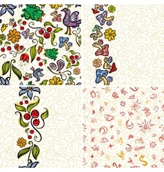 Four Forest Doodle Patterns vector image vector image
