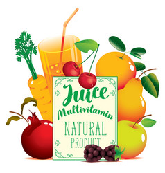 fresh juice banner with various fruits and berries vector image vector image