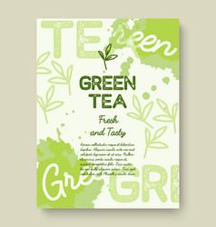 green tea poster or banner typography design vector image vector image