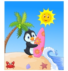 Happy penguin cartoon holding surfboard vector image vector image