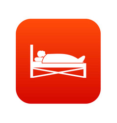 patient in bed in hospital icon digital red vector image vector image