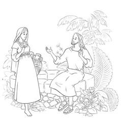 samaritan woman at the well coloring page vector image vector image