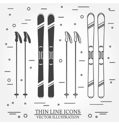 Set of skiing equipment silhouette icons vector image vector image