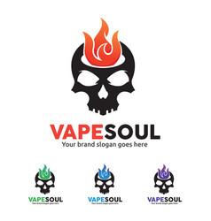 skull fire logo for e-cigarette business vector image