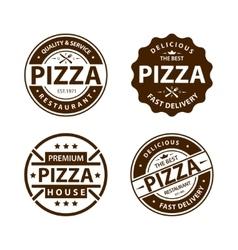 Vintage pizza logo label badge set vector image