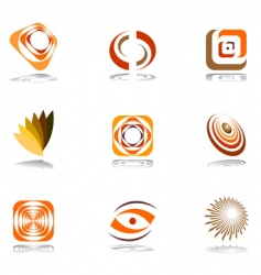 design elements in warm colors vector image vector image