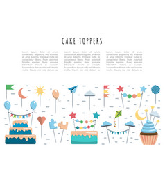 set cake and cupcake toppers vector image vector image