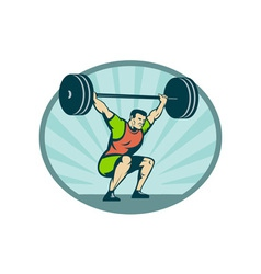 Weightlifter lifting heavy weights vector image vector image