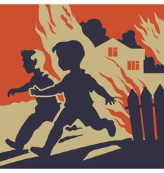 Children running away from fire flames vector image vector image