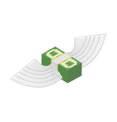 flying money cash with wings financial income and vector image vector image