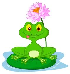 Green frog cartoon sitting on a leaf vector image