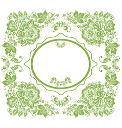 greenery russian floral frame background vector image vector image
