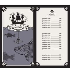menu with sailboat vector image vector image