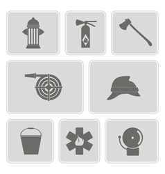 monochrome set with firefighter flat icon vector image