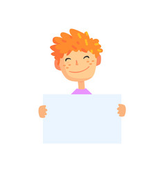 cartoon boy holding empty poster isolated on white vector image