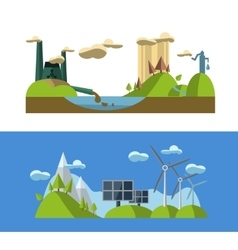 Flat design concept with icons of ecology green vector image