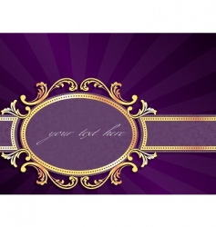 Horizontal label with gold filigree vector