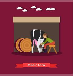 milker milking cow in flat vector image vector image