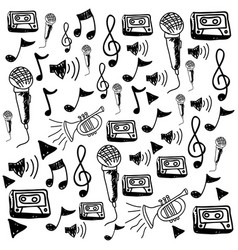 monochrome hand drawing pattern of music icons vector image vector image