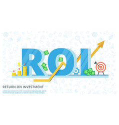return on investment - flat banner vector image vector image