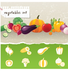 stylized vegetables icons vector image