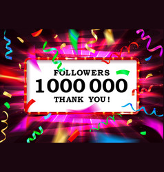 1 million followers or prize white background vector