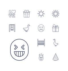 13 happy icons vector