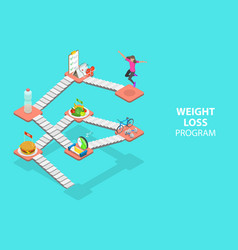 3d isometric flat concept weight loss vector image