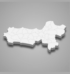 3d isometric map central java is a province vector