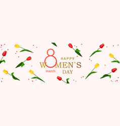 8 march happy womens day horizontal banner vector image