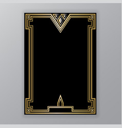 Art deco template golden-black a4 page menu card vector