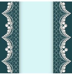 background with lace ornamented with pearls vector image