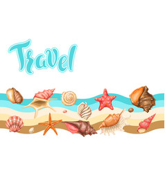 Background with seashells tropical underwater vector