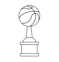 basketball trophy cup championship in black and vector image