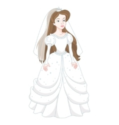Beautiful brunette bride gentle princess in white vector image