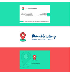 beautiful map pointer logo and business card vector image