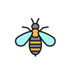 Bee venom therapy flat color line icon isolated vector