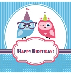 Blue birthday card with two owls vector image