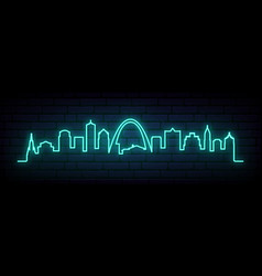 blue neon skyline stlouis city vector image